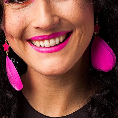 Amakando Neon-Ohrhänger für Frauen Disco-Queen / Neonpink / Buntes Kostüm-Zubehör für Damen Punk-Girl / Einsetzbar zu Karneval & 80er-Party