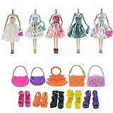 ASIV 5 sets modischen Handgefertigte Kleidung und Zubehör für Barbie Puppen, inkl. Kleid x 5, Schuhe x10, Handtasche x10, Zufälliger Stil