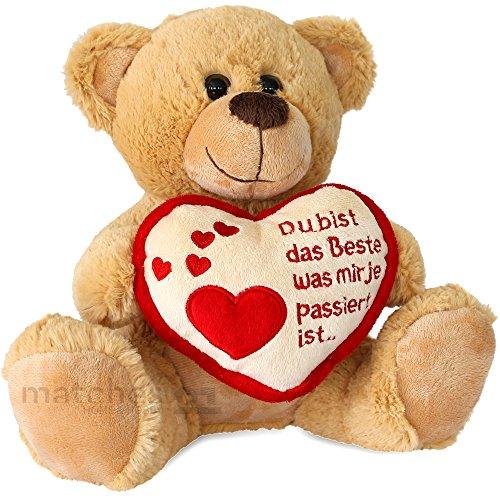 (matches21 Teddybär Teddy Herz Du Bist Das Beste Braun Hellbraun Beige 25 cm Plüschbär Kuscheltier)