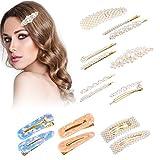 Tomight Pince à cheveux perle pour femmes et filles, 16 Pcs Perle Épingles à cheveux Résine Acrylique Barrettes Cheveux Accessoires pour la Cérémonie De Mariage Cadeau D'anniversaire