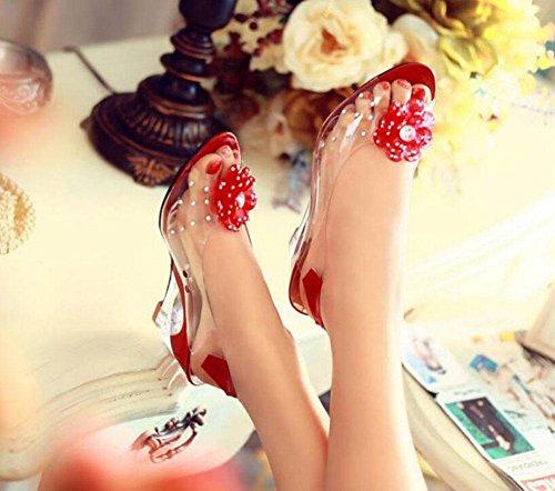 Pattini trasparenti del tacco basso dei sandali delle punte aperte Donne delle scarpe dei cunei dei diamanti del filetto grandi Red