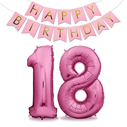 Pinke Folienluftballons für Den 18. Geburtstag XXL 100cm Pink Rosa Set mit Girlande - Riesen Heliumballon Folienballons in 40