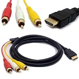 1,5 m HDMI-Stecker auf 3 Cinch-Kabel Audio Video AV