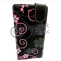 GADGET BOXX Schwarz Rosa und Klapphülle aus Leder mit floralem Muster Grau für Sony XPERIA Z