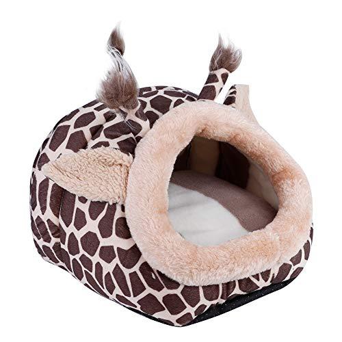 Smandy Linda Jirafa en Forma de Hamster Cama para Mascotas Invierno Cálido Nido Casa Jaula Dormir Cojín Perrera para Conejillo de Indias Rata Hurón Rata Gerbo y Otro Animal pequeño
