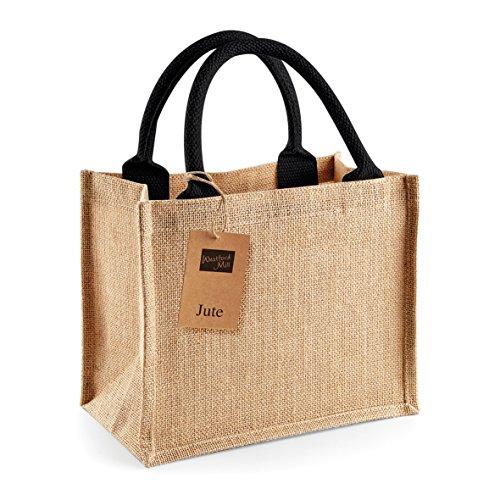 Jute mini bag - borsa piccola Juta con manico beige o nero Nero