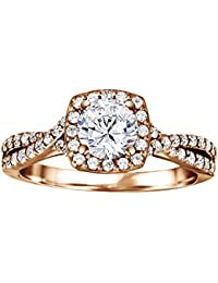 Silvernshine 1.29 Carat White Diamond Cubic Zirconnia 14k Rose Gold Plated Wedding Engagement Ring