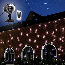 GAXmi Luce della neve di LED Telecomando Natale Nevica Luci del proiettore notturno Fiocco di neve bianco Rotante riflettore All'esterno dell'interno Illuminazione decorativa del paesaggio Per il compleanno di nozze di Capodanno