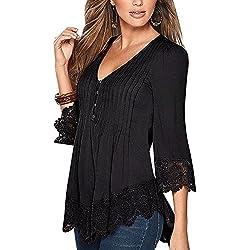 Mujer De Encaje Empalme Escote V Casual Elástico Manga Larga Camisas Blusas Suelto Verano Negro 3XL
