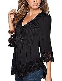Mujer De Encaje Empalme Escote V Casual Elástico Manga Larga Camisas Blusas Suelto Verano Negro M