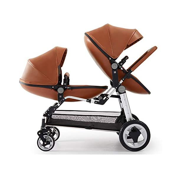 CHEERALL Double Baby Stroller Eggshell Twin High Landscape Pushchair Foldable Front And Rear Seat Adjustable Backrest Newborn Buggy,Brown CHEERALL TWIN STROLLER: Getting everywhere with two little ones has never been easier, thanks to the Double Strollers; you can glide around town even when you only have one hand free to steer; you can even roll through a standard size doorway. SEAT ORIENTATION ADJUSTABLE & ADJUSTABLE BACKREST :Arbitrarily convert the seat orientation to meet the needs of different age groups. The backrest can adjust to fit baby's sleep posture to keep comfortable sleeping. SAFETY WHEELS & DOUBLE BRAKE:The front wheel has dual shock absorption and 360° universal rotation for easy to control direction and safety. The rear wheel is made of PU material, which is wear-resistant and has a long service life..In the process of pushing, if you want to brake urgently, you can directly step on the crossbar under the seat with your foot, and the pedaling area is large. 1