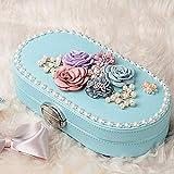 ZL Bijoux Ovale Voyage de Box Girl Kids, Boîte de Rangement Bijoux verrouillables W/Petit Miroir, Top 3 Dimensions Décor Fleur, Bord Perle (Couleur : Pale Blue)...