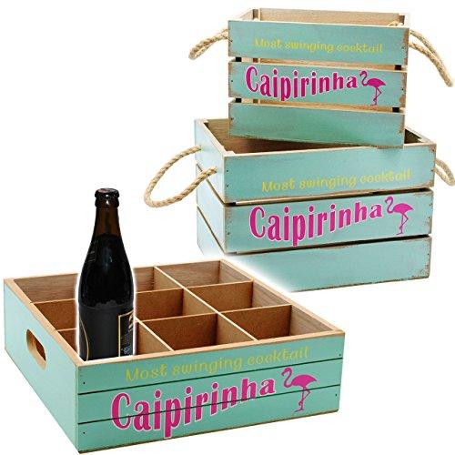 3 tlg. XL Set - Holz - Kisten / Holzboxen & Getränke Tablett -