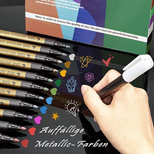 PGFUN 12 Stücks Metallic Marker Metallischen Pens, 10 Farben Premium Metallic Stifte für Gästebuch Hochzeit Geburtstag, DIY Fotoalbum Schwarze Seiten, Scrapbook Album(2MM Weiche Spitze)