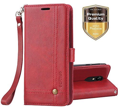 Ferilinso LG Q7/ LG Q7 Plus/LG Q7α Hülle, Elegantes Retro Leder mit Identifikation Kreditkarte Schlitz Halter Schlag Abdeckungs Standplatz magnetischer Verschluss Kasten für(Rot)