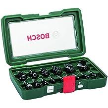 Bosch POF 1400 ACE - Fresadora de superficie, 1.400 W + Pack de 15 fresas (inserción de 8 mm) color verde