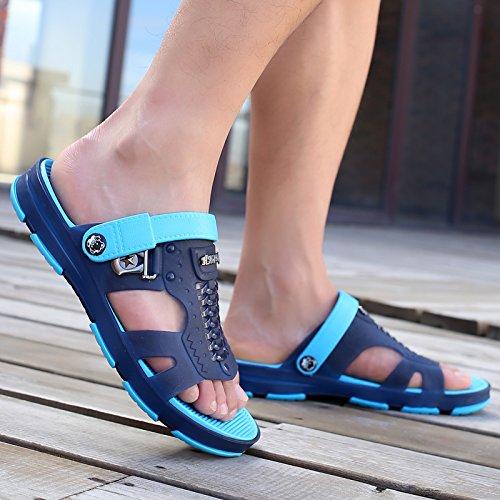 fankou Il semi-trascinato uomini sandali estivi Baotou traspirante foro spiaggia scarpe scarpe scarpe da spiaggia, giocare in acqua pantofole da viaggio,42,d- blu scuro