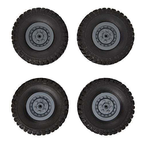Dilwe Pneumatici per Ruote Auto RC, 4 Pezzi Ruote in Gomma 1/16 Ruote di Ricambio ricambi Camion telecomandate compatibili con 1/16 WPL Auto B14 B16 B24 R
