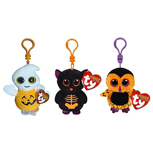 Beanie Boo Halloween set of 3 - Key clip - Pumpkie, Screech & Fangs - 7.5cm 3""