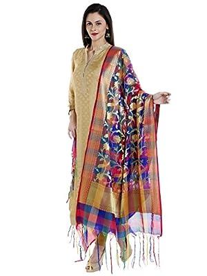 Dupatta Bazaar Woman's Multicoloured Woven Banarasi Silk Dupatta