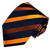 Lorenzo Cana - Marken Krawatte aus 100% Seide Italienische Tradition - blau orange gold gestreift Streifen - 42001