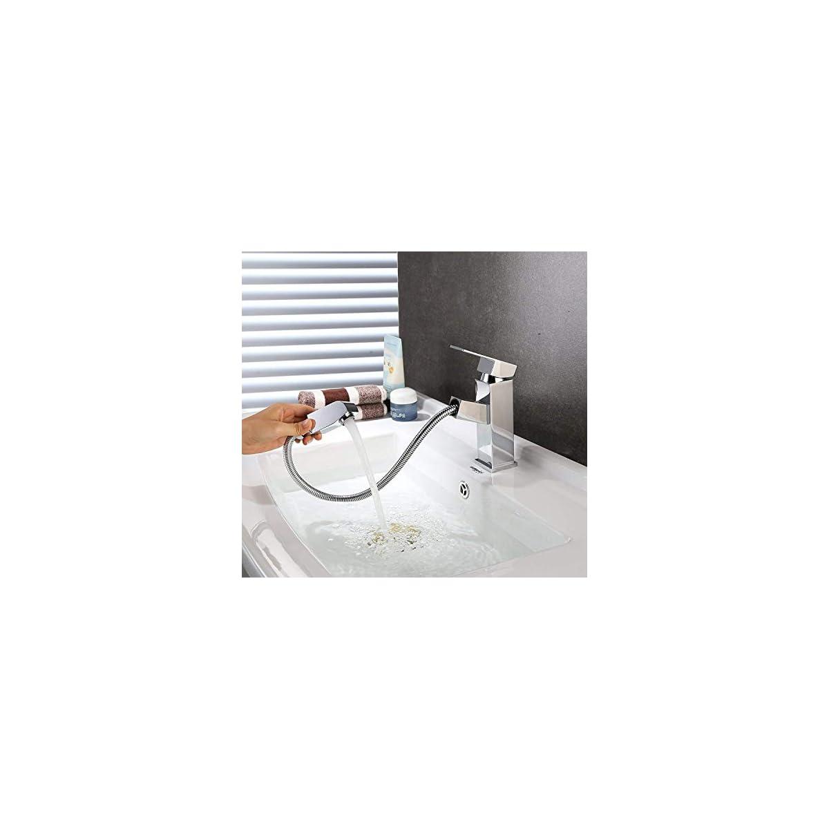 51GHorgwM6L. SS1200  - HOMFA Grifo Extraible de Lavabo con Cabezal de Ducha Grifo con Burbujeador de ABS Agua Caliente y Fría de para Cocina Baño Mezclador de Lavabo Cromado Puerto Estándar de 3/8 Pulgadas 15.6x17.5x4.1cm