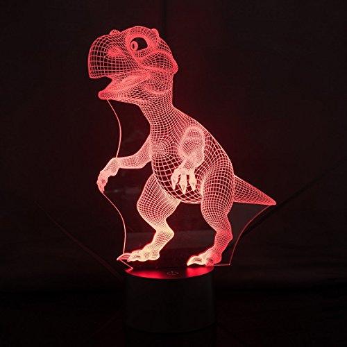 3D Illusion Nachtlampe, SUNINESS 7 Farben ändern Touch Control LED Schreibtisch Tisch Nachtlicht mit bunten USB Powered für Kinder Kinder Familie Ferienhaus Dekoration Valentinstag beste Geschenk (Dinosaurier)