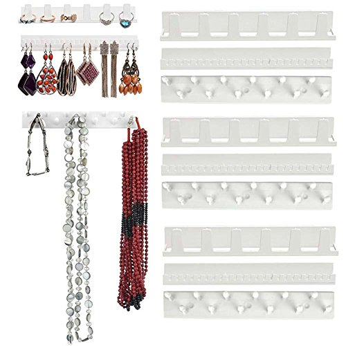 ShengJ 9 Parts / Jewelry Display Rings Set Adhesive Organizer Pendant Wall Bracket