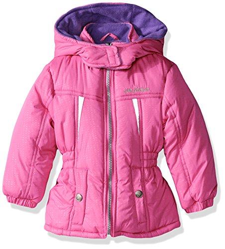 Pink Platinum Little Girls' Toddler Stamp Print Active Puffer Jacket, Bright Pink, 3T