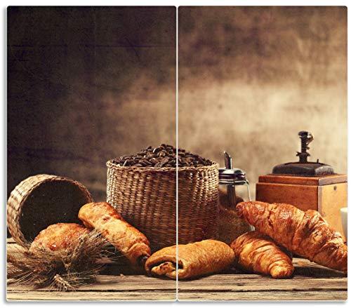 Wallario Herdabdeckplatte/Spritzschutz aus Glas, 2-teilig, 60x52cm, für Ceran- und Induktionsherde, Französisches Frühstück mit Café und Croissants