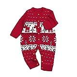 Jimmackey Neonato Unisex Maglia Pagliaccetto, Bebè Natale Cervi Stampa Maglione Tutine Body, Bambino Da 6 A 24 Mesi (Rosso, 6 mesi)