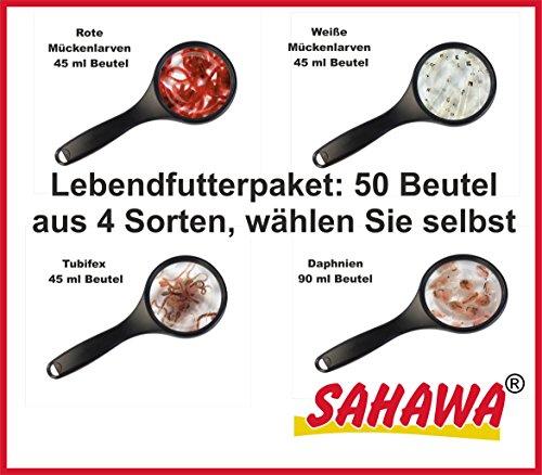 sahawa® Nourriture Vivante Paquet libre choix, Larves de moustiques rouges, blanches larves de moustiques, Tubi wh-107, daphnien
