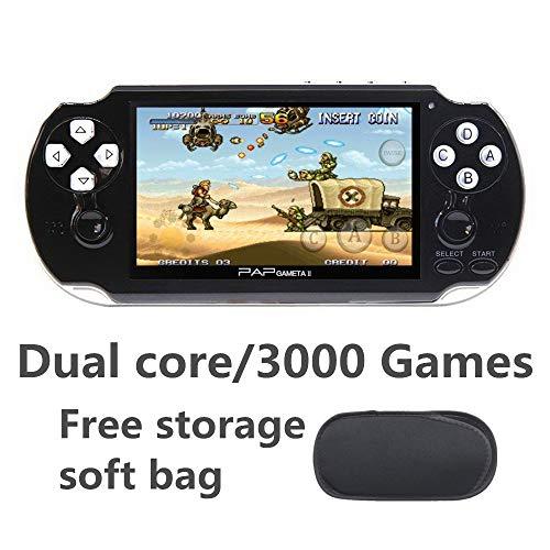 JXD Dual Core 4.3 Zoll handheld spielkonsole videospielkonsole 16GB eingebaut in 3000 CPS/NEOGEO/GBA/GBC/GB/SFC/MD/FC/SMS/GG Games MP3 Player DV DC (Schwarz)