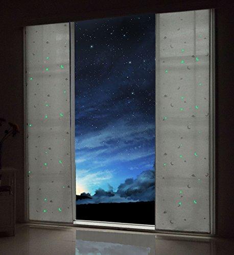 Gardinenbox Flächenvorhang Blickdicht Motiv Sterne Monde Fluoreszierend Kinder Kids Paneelwagen Weiß 2 Stück 245x60 (Höhe x Breite cm), 80495