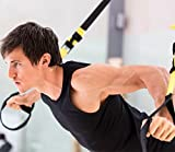 Queta Sling Trainer, Suspension Trainer Kit, Lightest, Leanest Suspension Trainer Ever - Perfect for Travel and Working Out Indoors Outdoors (Black)