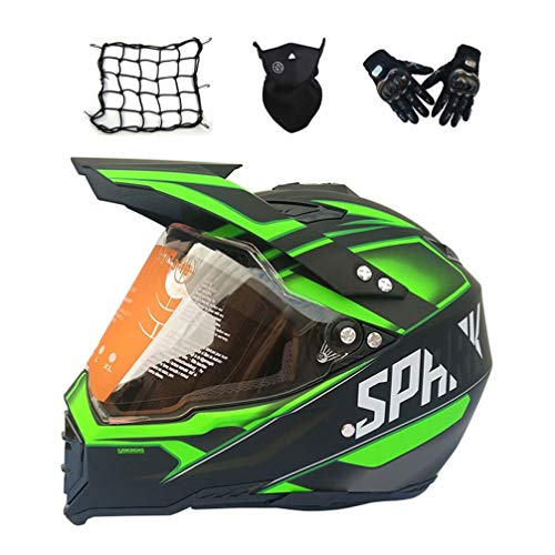 MRDEAR Casco Motocross Nero e Giallo, Set da Casco Cross con Visiera, Casco Enduro Integrale Moto MTB off-Road ATV Scooter Downhill Sport per Donna Uomo Adulto, 4 PCS,S
