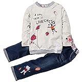 ARAUS Completini e Coordinati da Bimba di Cotone Felpe e Pantaloni di Jeans 2 Pezzi 0-7 Anni
