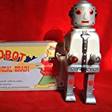 MS645 Vintage Mr Robot The Mechanical Brain Light Tin Toy Wind Up Action Retro Style Adult Collectible