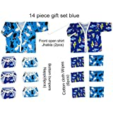 14 Piece New Born Baby Girl Boy Cartoon Print Gift Set Super Soft 100% Cotton 2 Shirt Jhabla 6 Wipes 6 Nappies Bottom Bumpers (Blue, 14 Pc Set)