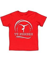 HippoWarehouse SILUETA GIMNASTA FEMENINA PERSONALIZADA (Añade tu nombre al diseño con un solo mensaje) camiseta manga…