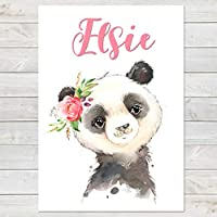 Baby Panda with Flower, Cute Personalised Animal Print for Kids, A4 or A3