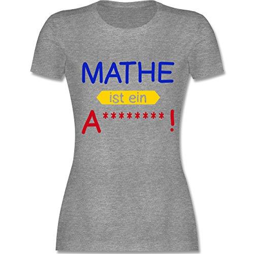 Sprüche - Mathe ist ein A - tailliertes Premium T-Shirt mit Rundhalsausschnitt für Damen Grau Meliert