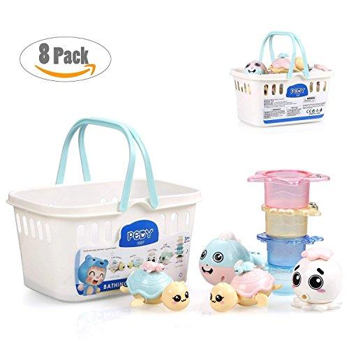 Pedy Badewannenspielzeug Baby Badespielzeug 8 Pack Wasserspielzeug mit 4 Ocean Tiere Spray-Wasser & Schwimmen und 4 Tier-Stapelbecher für Baby Kinder ab 6 Monate (Model 2)