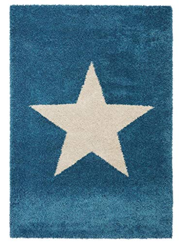 benuta Shaggy Hochflor Teppich Graphic Star Blau 120x170 cm | Langflor Teppich für Schlafzimmer und Wohnzimmer