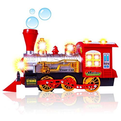 (Jamicy Dampfzug Lokomotive Motor Auto Blase Schlag Bump & Go Batteriebetriebene Spielzeugeisenbahn mit Lichtern & Sounds)