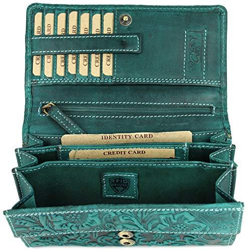 47d73f988e641 BELLI hochwertige Vintage Leder Damen Geldbörse Portemonnaie langes großes  Portmonee Geldbeutel langes Portmonee aus weichem Leder