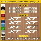 Pimastickerslab Aufkleber Fahrrad SHIMANO XT -Kit Aufkleber Stickers 16 Stück – bici Bike Cycle wählbar Cod.0946 (010 BIANCO)