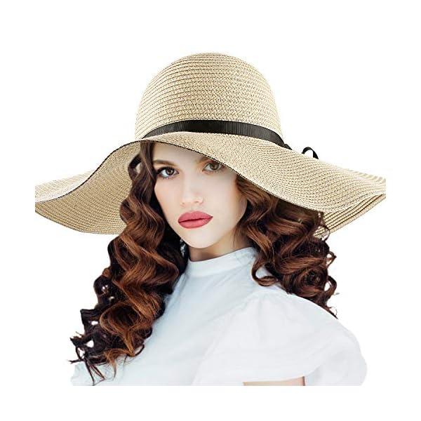 Pieghevole Cappello Parasole Di Paglia, Donne Cappello Tesa Larga Regolabile e Impacchettabile Con Cinturino Sottogola… 1 spesavip