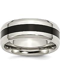 ICE CARATS Titanium Black Enameled 8mm Wedding Ring Band Fancy Fashion Jewelry Gift Set For Women Heart