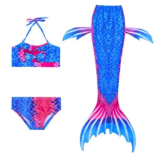 FStory&Winyee Mädchen Kostüm Meerjungfrau Schwimmanzug Set mit Schwanz Bikini Outfit Nixe Badeanzug Bunt Sommer Strand Kleidung Kinder Cosplay Karneval Verkleidung Party Faschingkostüm (Meerjungfrau Verkleiden Outfit)